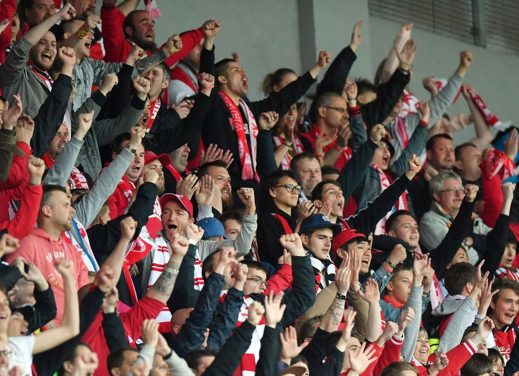 Slávističtí fanoušci oslavují branku sešívaných