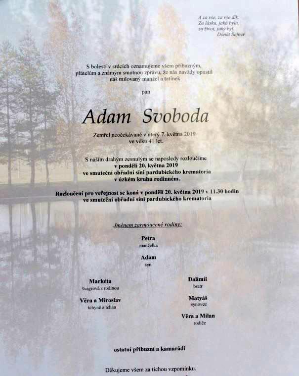 S Adamem Svobodou se rodina, přátelé i fanoušci naposledy rozloučí v pondělí