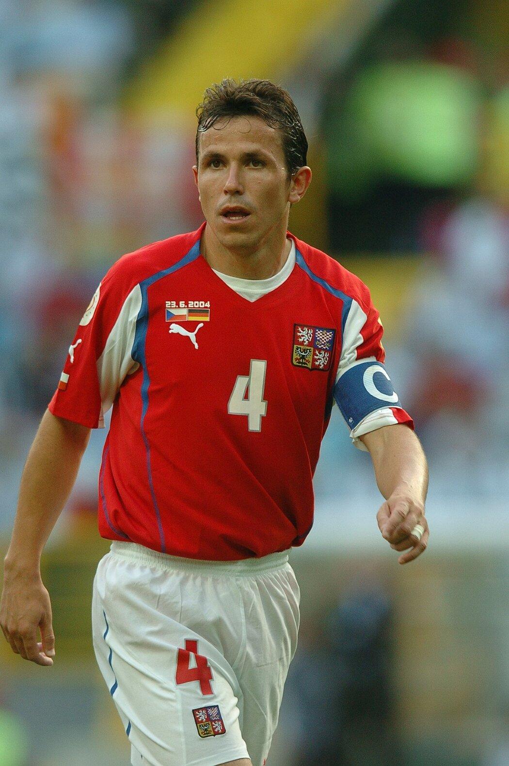 Tomáš Galásek vedl českou reprezentaci do zápasu s Německem v základní skupině EURO 2004 jako kapitán