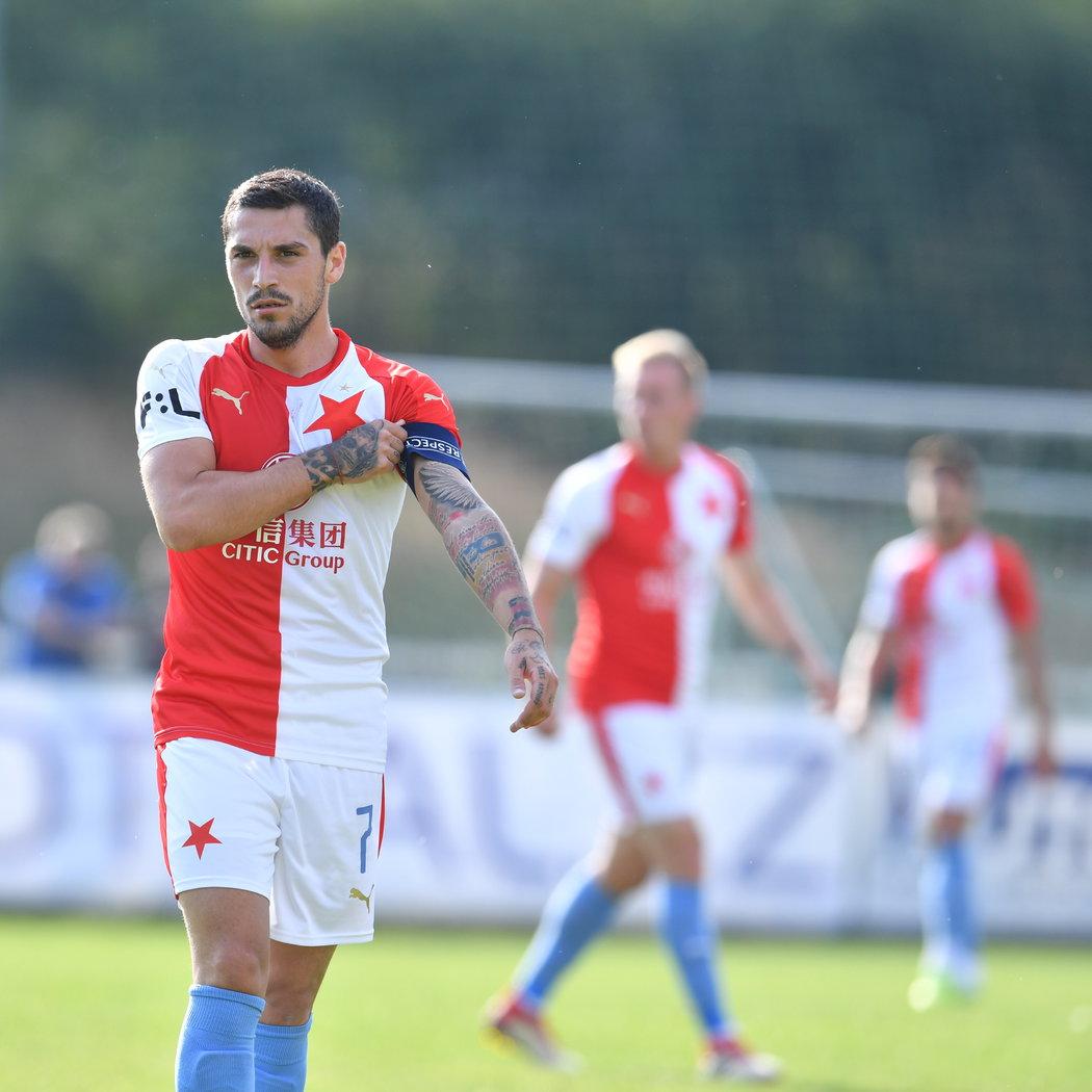 Nicolae Stanciu při své premiéře v dresu Slavie nasadil kapitánskou pásku a vstřelil gól