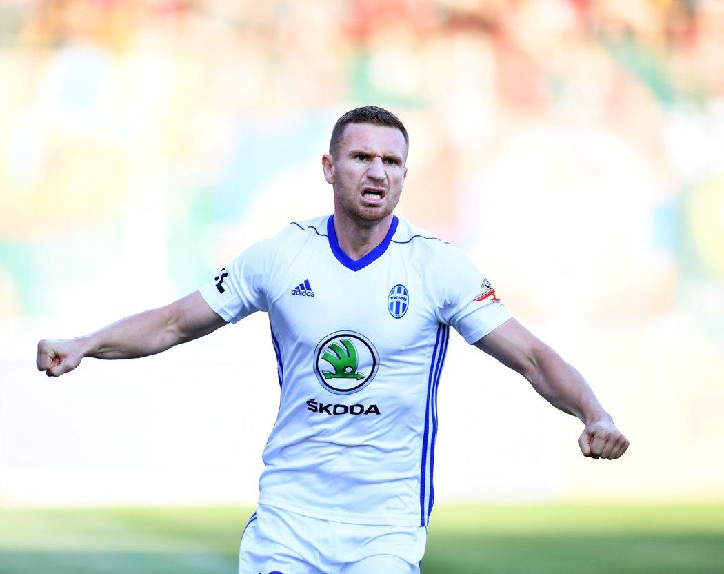 Útočník Mladé Boleslavi Muris Mešanovič v utkání proti Spartě, ve kterém dal tři góly