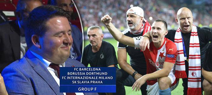 Místopředseda představenstva Slavie Tomáš Syrovátka musel po losu Ligy mistrů zadržovat smích