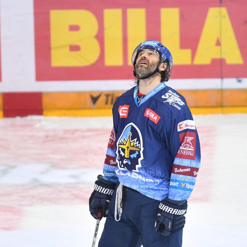 Jaromír Jágr během zápasu Kladna se Spartou