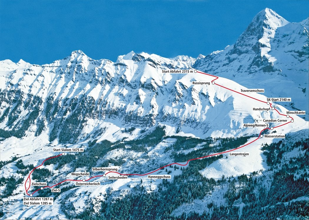 Profil trati sjezdu ve švýcarském Wengenu, což je nejdelší závod ve Světovém poháru
