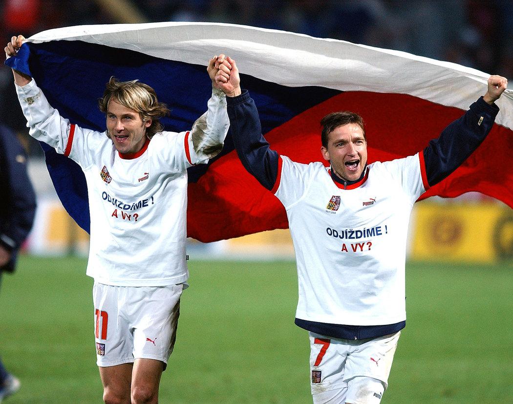 2005. Další velký úspěch. Pavel Nedvěd a oslavy postupu na MS 2006 v Německu po úspěšné baráži proti Norsku.