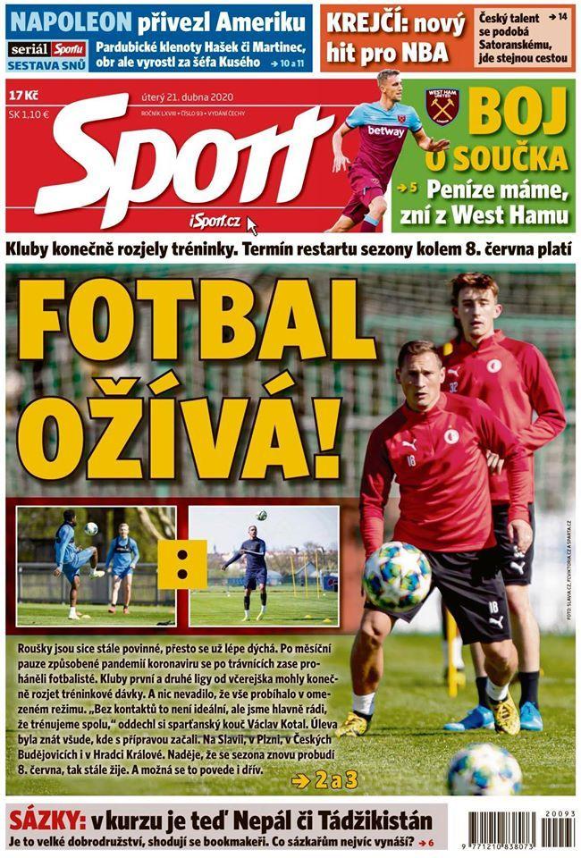 Deník Sport, titulní strana, 21. dub