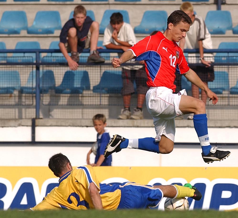 2003. David Lafata v zápase české reprezentace do 21 let proti Moldavsku