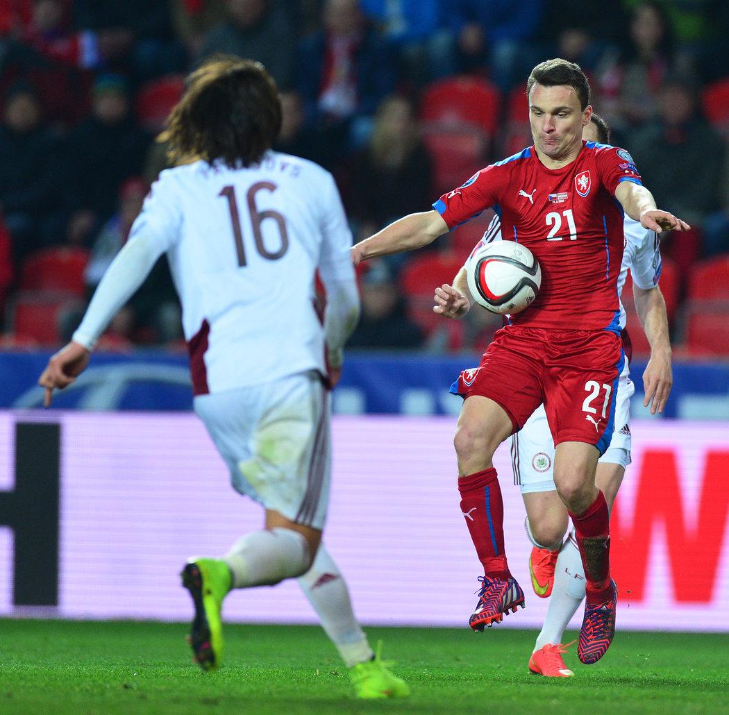 2015. David Lafata v utkání kvalifikace EURO 2016 proti Lotyšsku