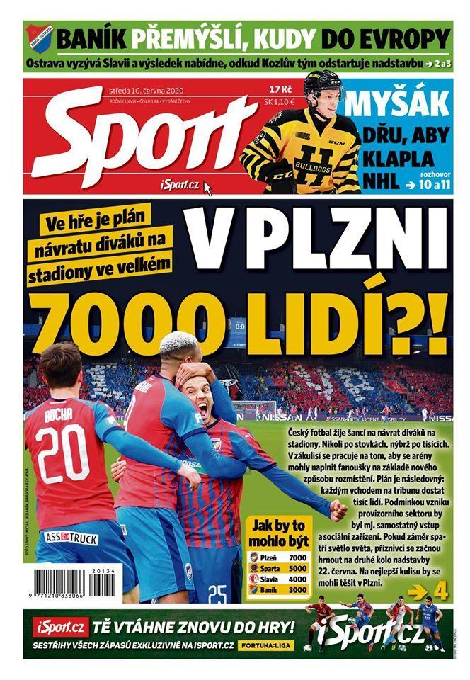 Titulní strana deníku Sport, středa 10. června 2020