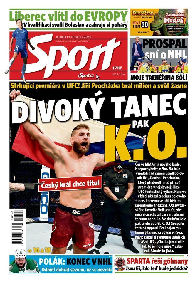 Titulní strana deníku Sport, pondělí 13. července 2020