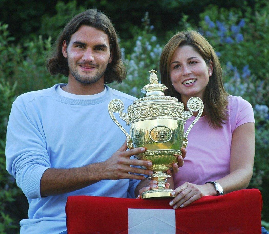 2003 - svpůj první wimbledonský titul oslavil se svou tehdejší přítelkyní, později ženou Mirkou Vavrinecovou