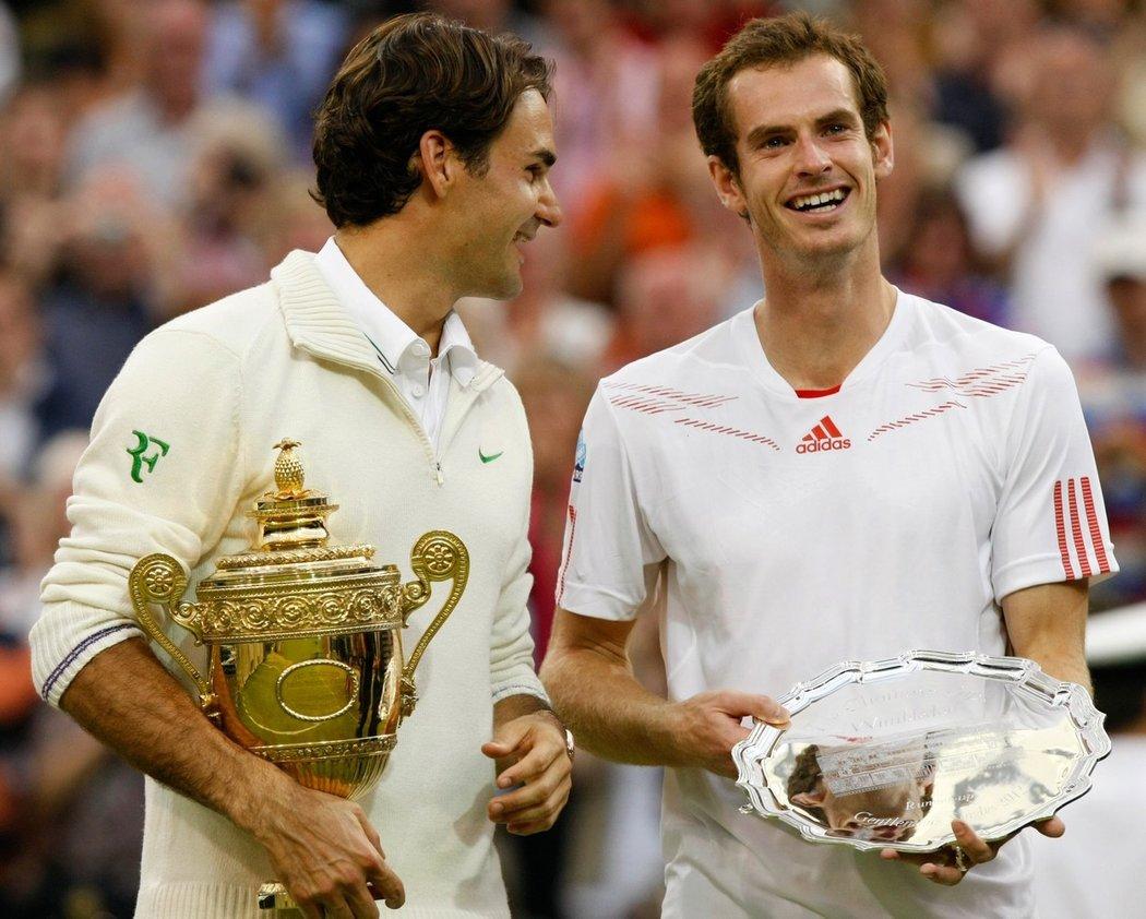 2012 - Roger Federer a Andy Murray po wimbledonském finále