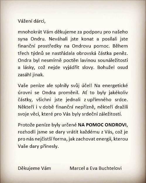 Dojemné gesto rodiny zesnulého hokejisty Ondřeje Buchtely, který před několika dny prohrál boj s rakovinousrdce