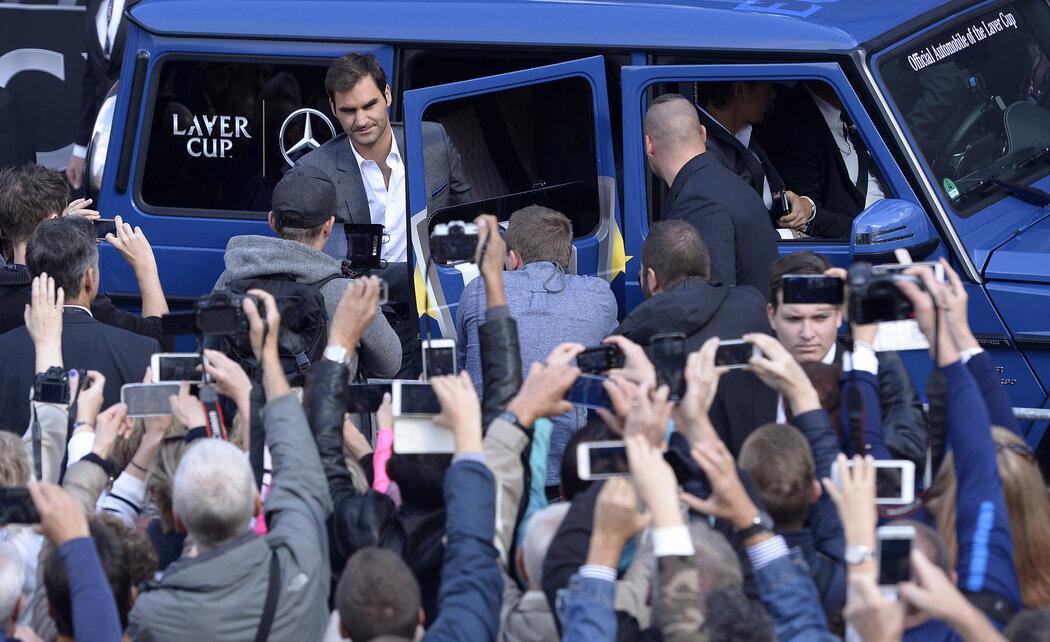 Roger Federer při návštěvě Prahy