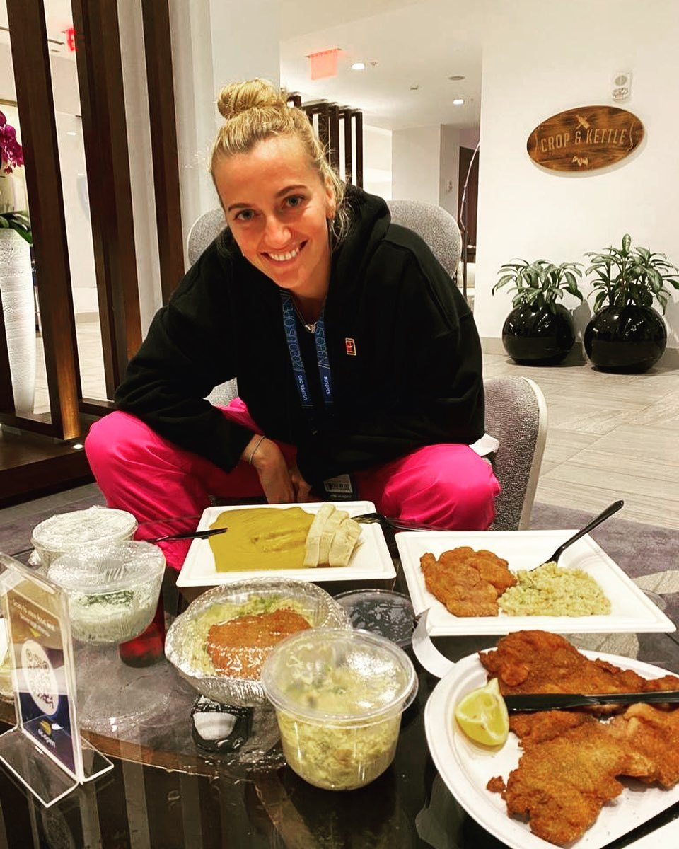 Do bubliny dorazilo české jídlo! Petra Kvitová si dopřála svíčkovou či řízky...