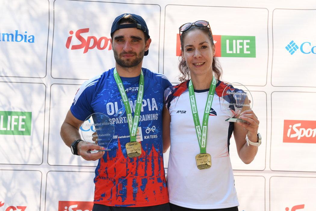 Vítězové iSport LIFE Columbina závodu v brněnské zoo: Jakub Vrbenský a Lenka Butorová