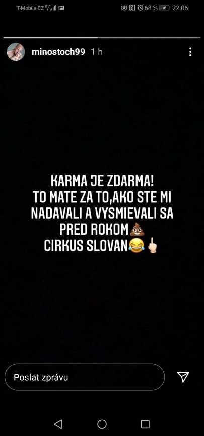 Miroslav Stoch si ve svém instagramovém příspěvku nebral servítky.