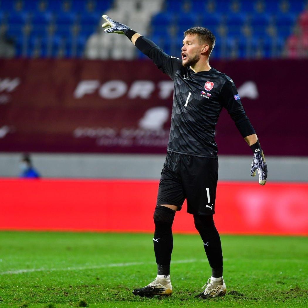 Český brankář Tomáš Vaclík při zápase Ligy národů proti Slovensku