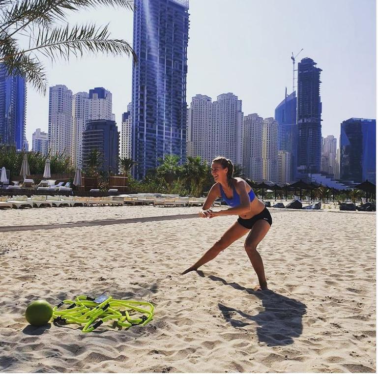 Petra Kvitová si v rámci tréninku zahrála beachvolejbal