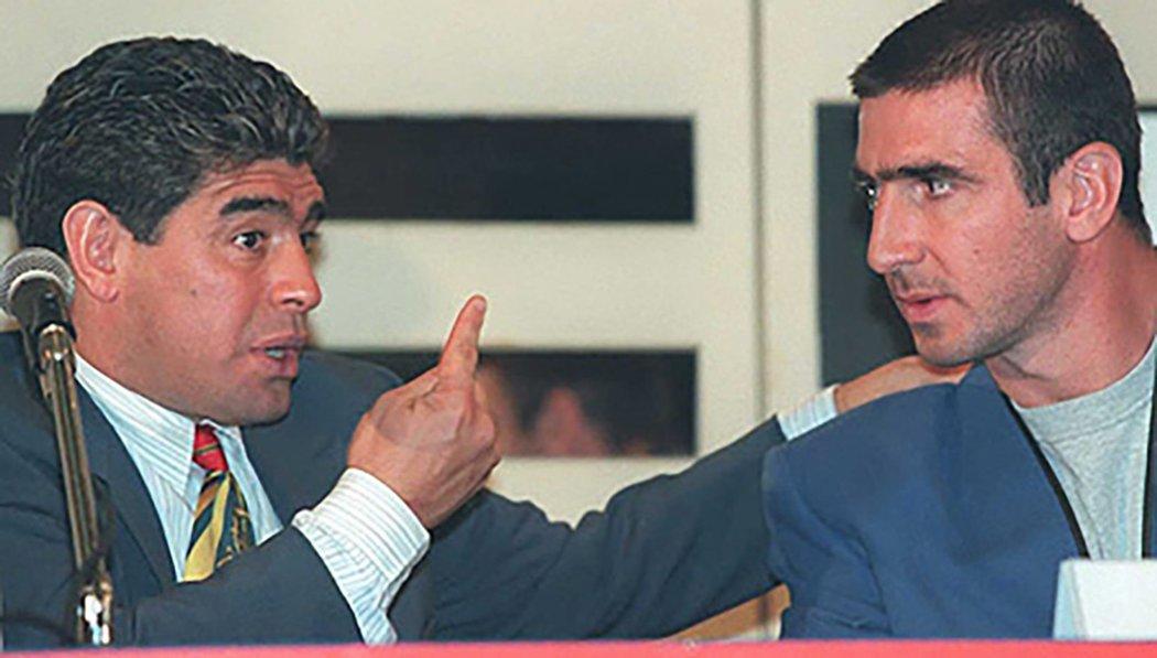 Dvě obrovské fotbalové osobnosti - Diego Maradona a Eric Cantona
