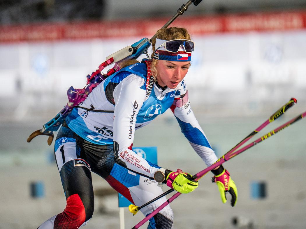 Markéta Davidová při sprintu ve finském Kontiolahti