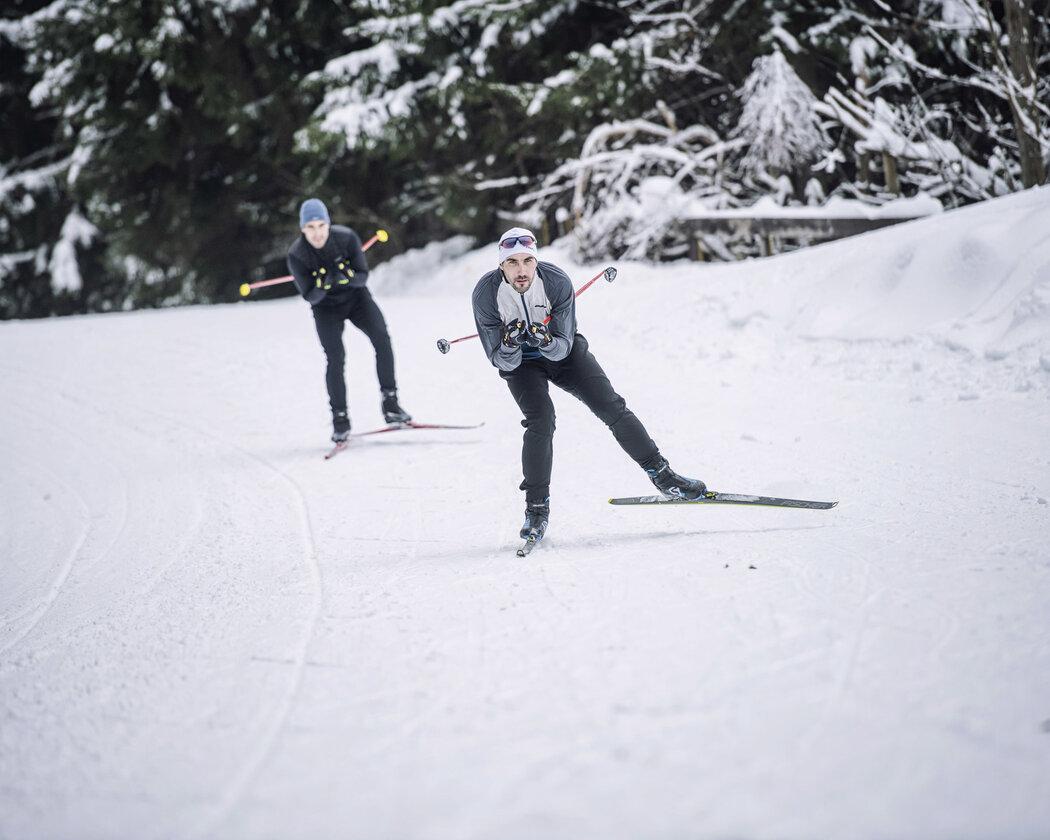 David a Tomáš Svobodovi na běžkách