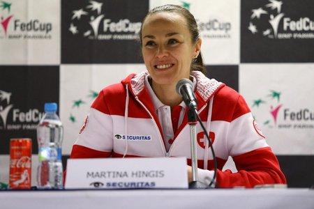 Trenérka švýcarského fedcupového týmu Martina Hingisová před duelem s Českem