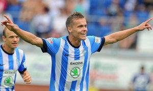 Boleslavský Tomáš Fabián se raduje z druhého gólu v zápase proti Liberci