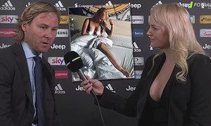 Krásná a vnadná reportérka Barbora Burdová dělala rozhovor s Pavlem Nedvědem. Ten moc nevěděl, kam s pohledem...