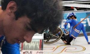 17letého cyklistu na ME do juniorů probodl kus dráhy