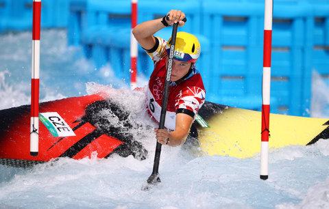 Kanoistka Tereza Fišerová v tréninku na olympijském kanále