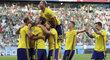 Švédská radost po druhém gólu v zápase s Mexikem na MS v Rusku