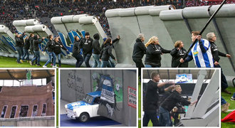 Hertha a její úchvatné choreo. Trabant proti Berlínské zdi přímo na hřišti
