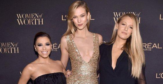 Eva Longoria (157 cm), Karlie Kloss (188 cm) a Blake Lively (178 cm)