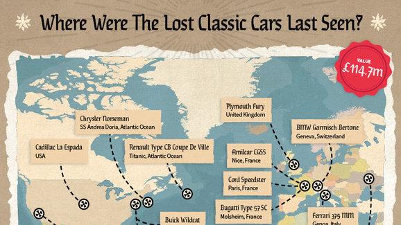 Po těchto vzácných a drahých autech se slehla zem. Unikátní mapa ukazuje, kde se objevila naposledy