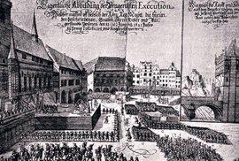 Poprava 27 českých pánů na Staroměstském náměstí 21. června 1621 na dobové rytině.