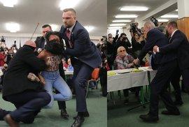 Na prezidenta se u voleb vrhla polonahá aktivistka. Zeman je Putinova děvka, křičela