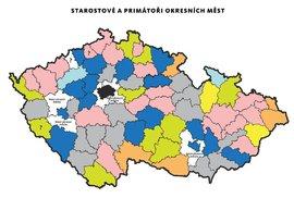 Mapa: Starostové a primátoři okresních měst České republiky po komunálních volbách 2018