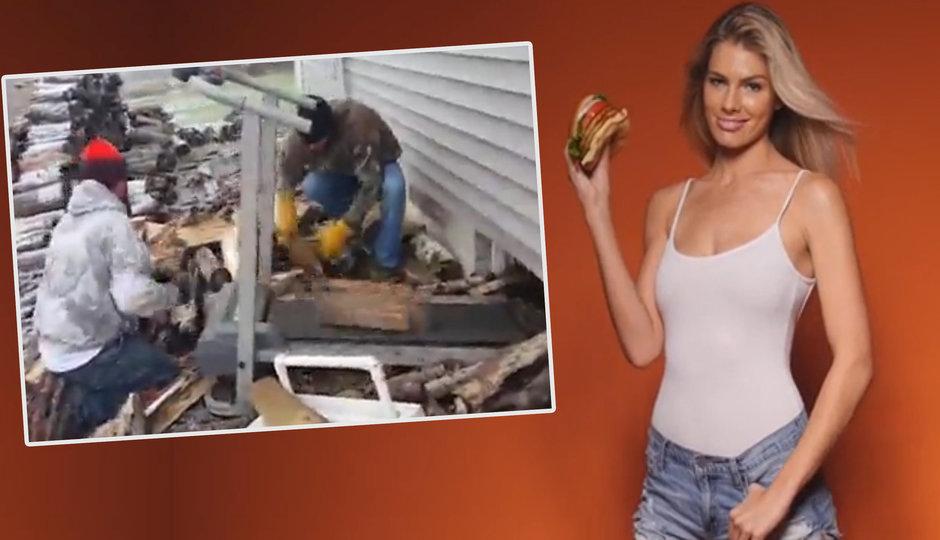 Sexistická reklama na vlhčené ubrousky a skládání dřeva na běhacím pásu