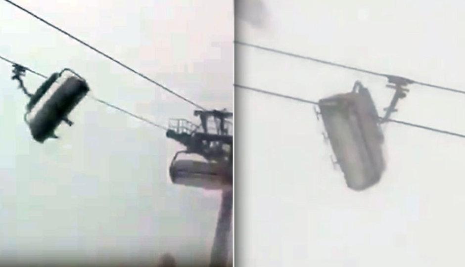 Sněhová bouře rozhoupala lanovku. Podívejte se na děsivé záběry
