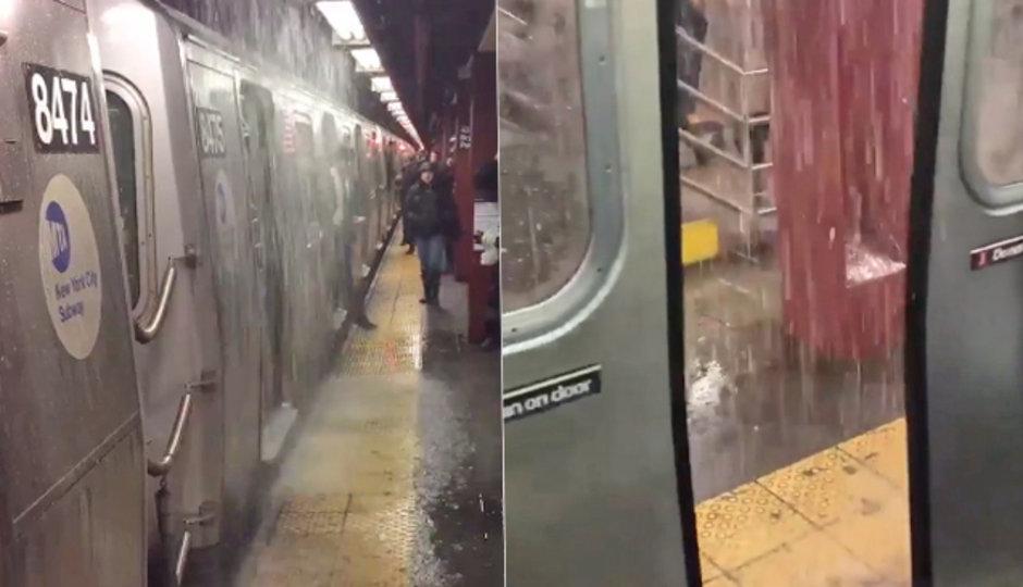 Potopa v newyorském metru: Ze stropu padaly proudy vody