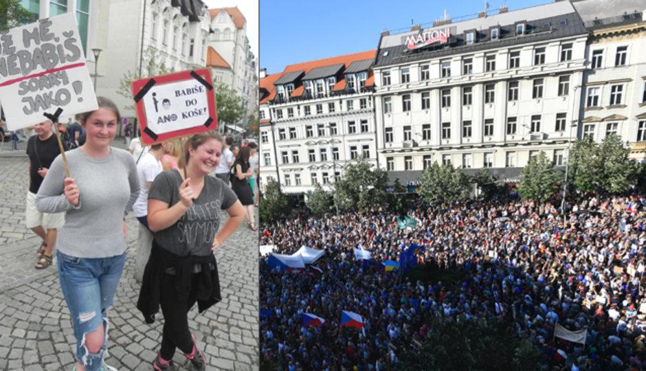 """""""Hanba!"""" Tisíce lidí v Česku protestovaly proti možné vládě Babiše s komunisty"""