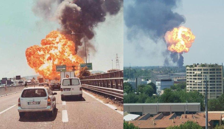 Exploze v Boloni: Kamera zachytila moment, kdy se auta srazila