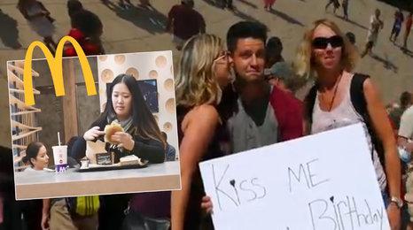 Neuvěříte, co na tuhle dívku čekalo v McDonalds! A jak se loudí polibky na ulici