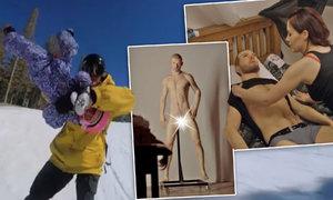 Ženy mění živé muže za uměláky! Podívejte se, jak si vystačí! A salta s dětmi na snowboardu