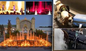 Barevná show ve fontáně: Hraje 50 odstínů i Star Wars! A jak nám psi prohledávají kufry