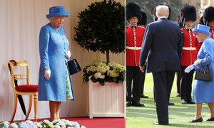 Královský trapas: Trump Alžbětě II. zatarasil cestu, musela kolem