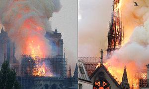 Obří požár zachvátil slavnou katedrálu v Paříži: Notre-Dame v mohutných plamenech