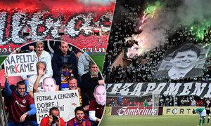 NEJ transparenty z českých fotbalových stadionů: Ostré vzkazy i masivní chorea