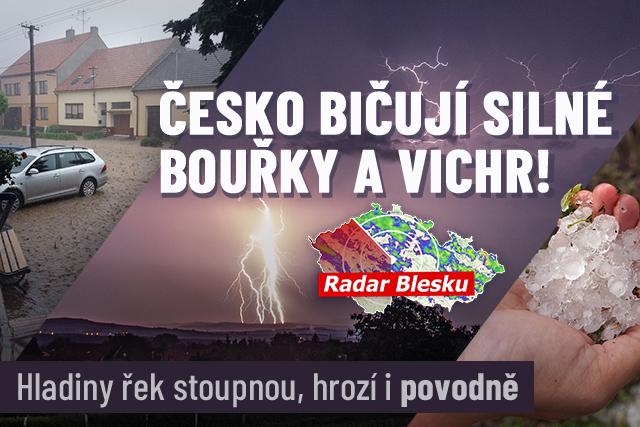 Česko bičují silné bouřky: Přinesou vichr, hrozí i povodně!